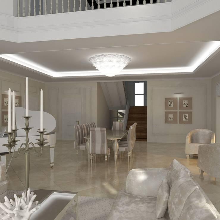 Интерьер загородного жилого дома в Днепропетровской области 519 м2: Гостиная в . Автор – KARYADESIGN architecture studio