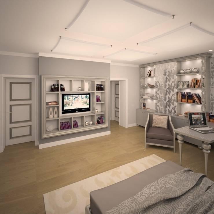 Интерьер загородного жилого дома в Днепропетровской области 519 м2: Спальни в . Автор – KARYADESIGN architecture studio
