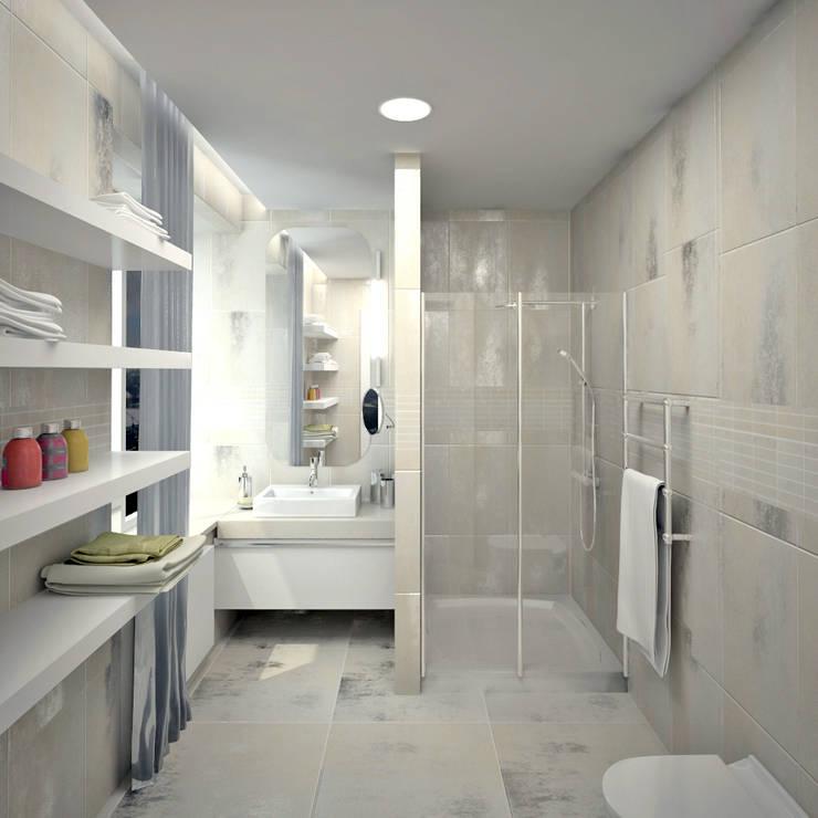 Двухуровневая квартира 160 м2: Ванные комнаты в . Автор – KARYADESIGN architecture studio