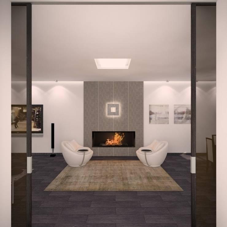 Загородный жилой дом 380 м2: Гостиная в . Автор – KARYADESIGN architecture studio