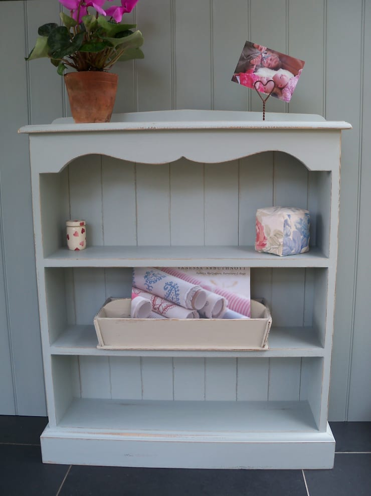 Hand Painted Scalloped Top Bookcase:  Living room by Rectory Blue