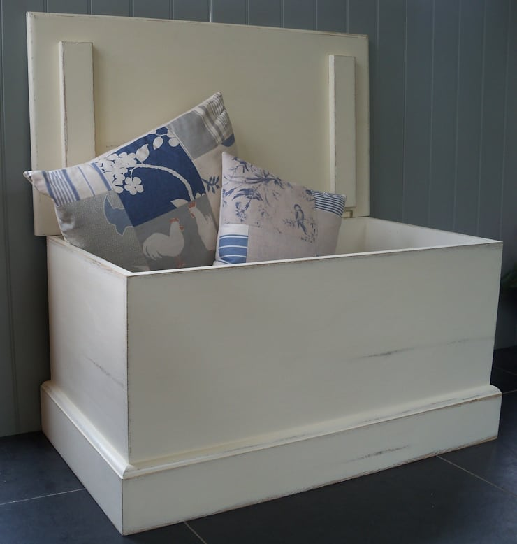 Hand Painted Blanket Box:  Living room by Rectory Blue
