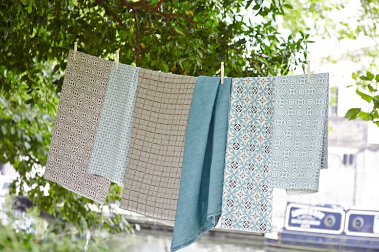 Cotton and linen hand screen printed fabrics:  Household by akin & suri