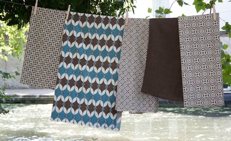 Cotton and linen hand screen printed fabrics :  Household by akin & suri