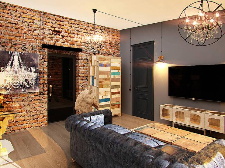 Апартаменты  для молодой пары в Москве: Гостиная в . Автор – Anna Vladimirova