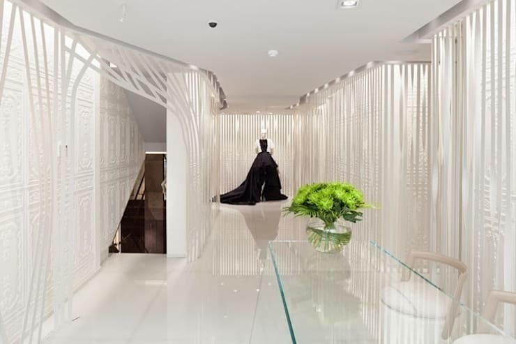 Stoneville Recycled Glass Flooring for On Motcomb, Knightsbridge, UK:  Offices & stores by Stoneville (UK) Ltd