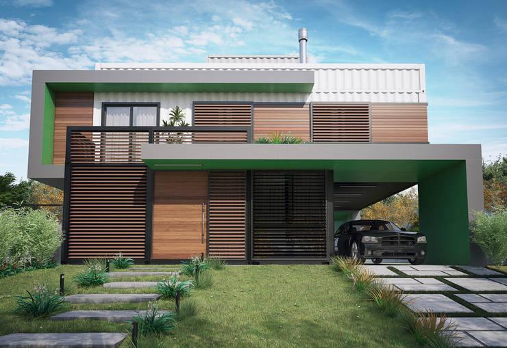 fachada frontal - casa SP: Casas  por studio vtx