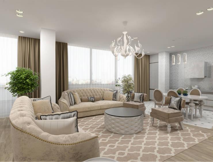 Белый интерьер в стиле ар деко: Гостиная в . Автор – pashchak design