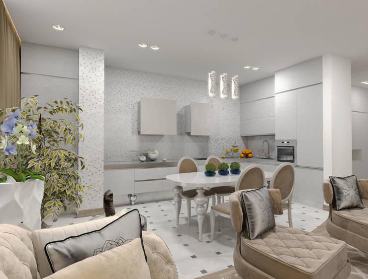 Белый интерьер в стиле ар деко: Кухни в . Автор – pashchak design