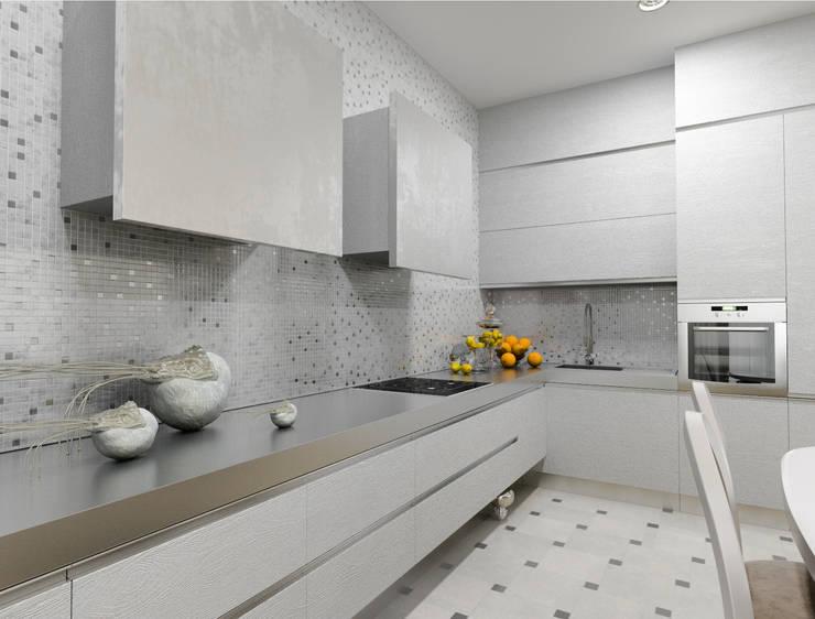 Белый интерьер в стиле ар деко: Кухня в . Автор – pashchak design