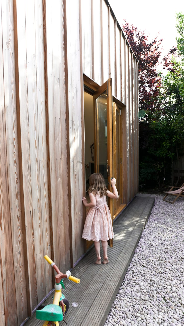 Detail of doors in rear elevation:  Houses by Neil Dusheiko Architects