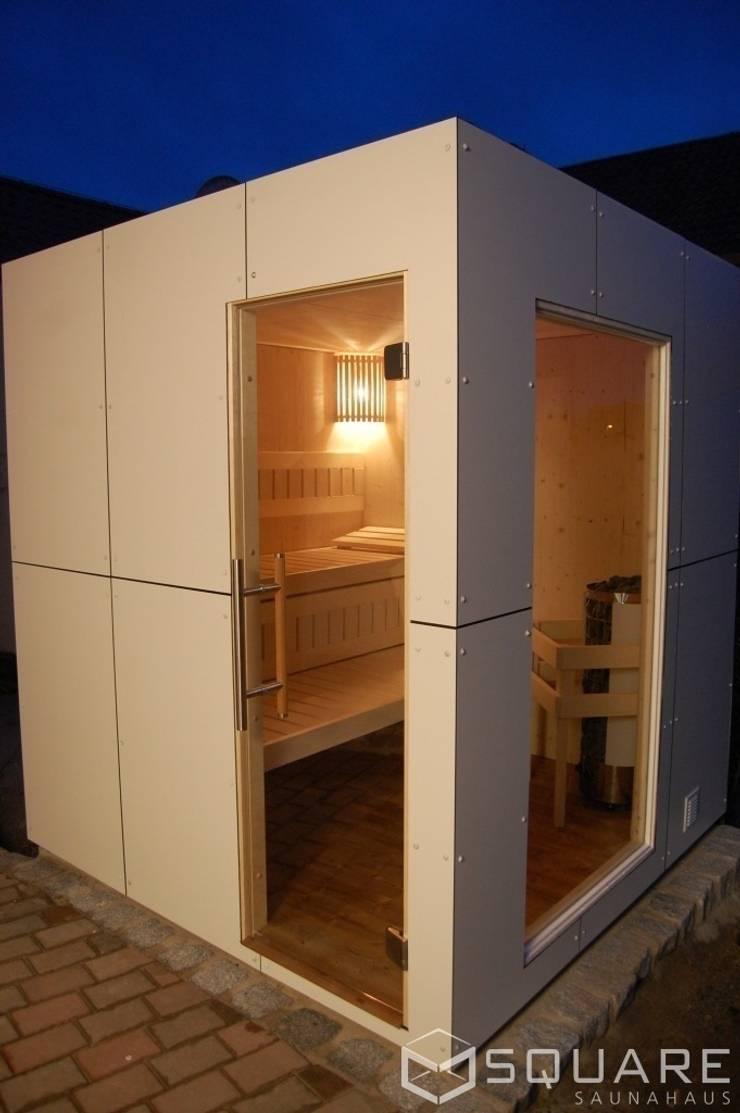 Hpl Platten Fassade saunahaus square box - fassade: weiße hpl-plattensquare