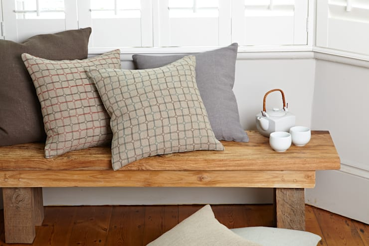 Cotton and linen hand screen printed cushions:  Household by akin & suri