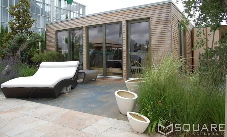 Saunahaus Square Xxl Als Grosses Poolhaus Mit Sauna Fassade