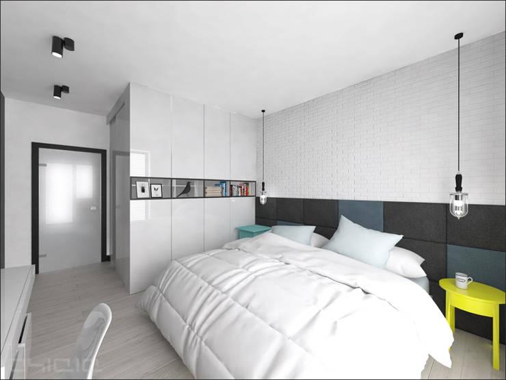 Brzeska: styl , w kategorii Sypialnia zaprojektowany przez OHlala Wnętrza