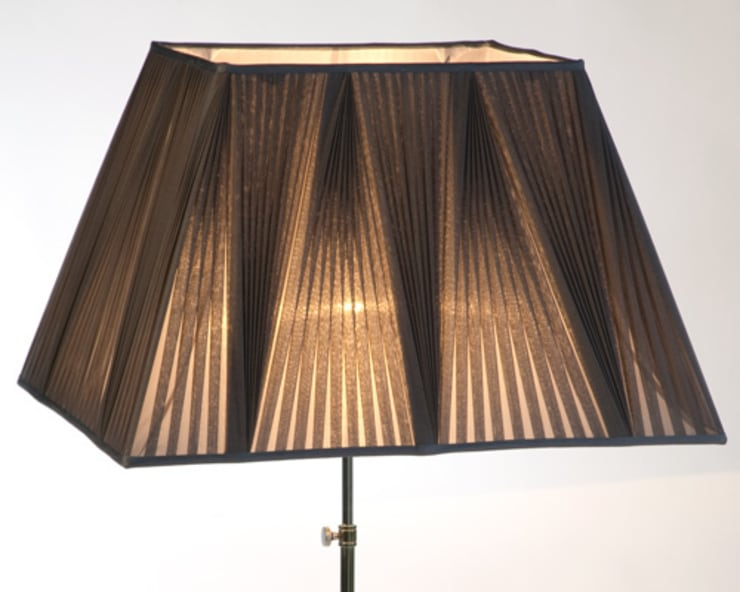 Reverse pleated lampshade in black chiffon:  Bedroom by A Shade Above