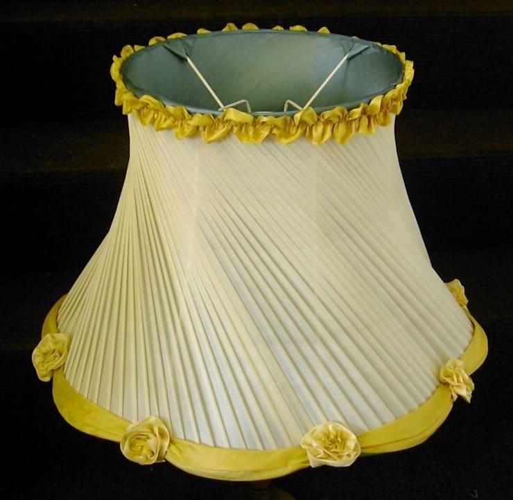 Yellow chiffon diagonal pleated lampshade with flower detail:  Bedroom by A Shade Above