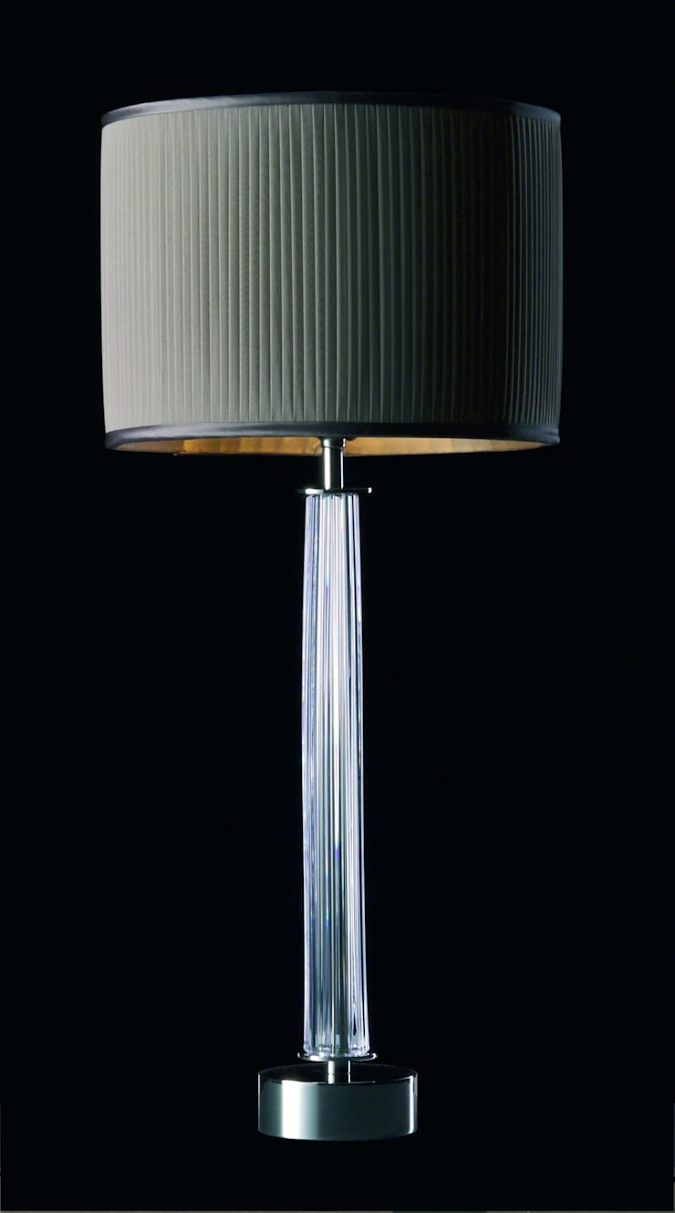 Knife-pleated chiffon drum lampshade:  Living room by A Shade Above