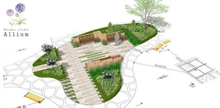 아산2차배방푸르지오: Garden Studio Allium의  정원