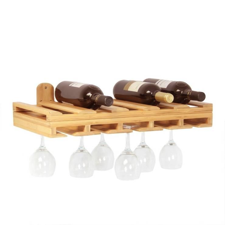 Hanging Glass Rack and Wine Bottles Holder: modern Kitchen by Finoak LTD