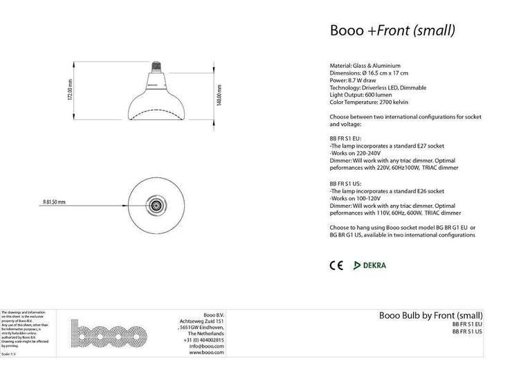 Specsheet of Front's small lamp:   door Booo BV