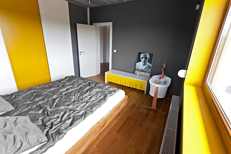 Beam & Block House: styl , w kategorii Sypialnia zaprojektowany przez mode:lina™