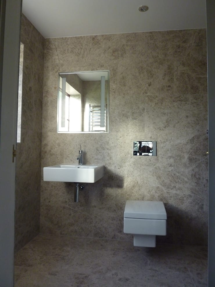 Silvery Shadow Honed Marble Tiles:  Bathroom by Floors of Stone Ltd