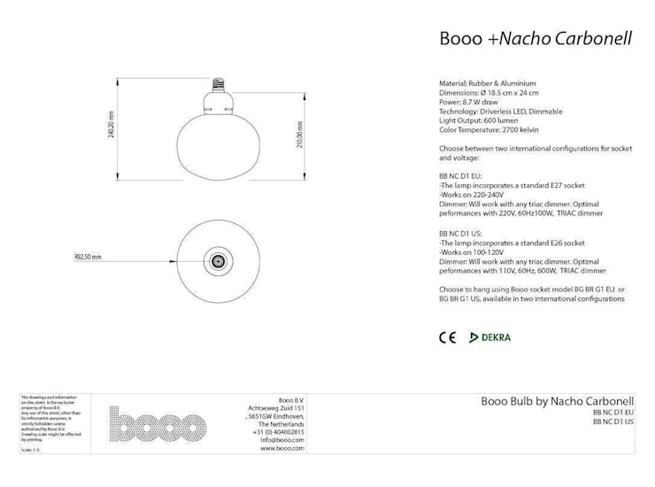 The specsheet of the Nacho bubble lamp:   door Booo BV