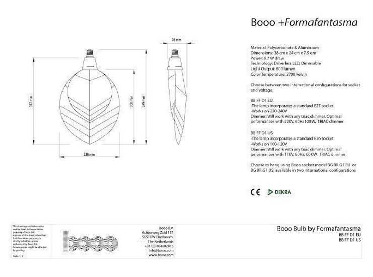 The specsheet of the FormaFantasma lamp:   door Booo BV