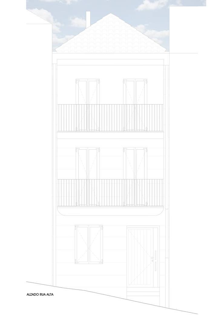 Alzado a Rúa Alta:  de estilo  de Estudio de Arquitectura Sra.Farnsworth