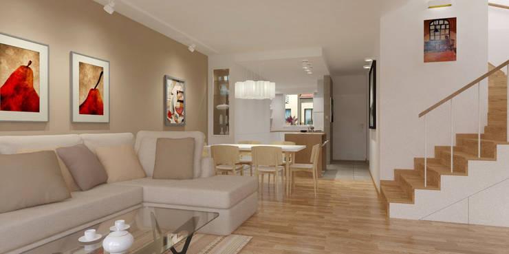 Projekt kuchni z salonem: styl , w kategorii Salon zaprojektowany przez Projektwnet,