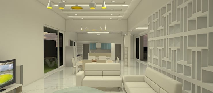 Living + kitchen:  Living room by Neotecture