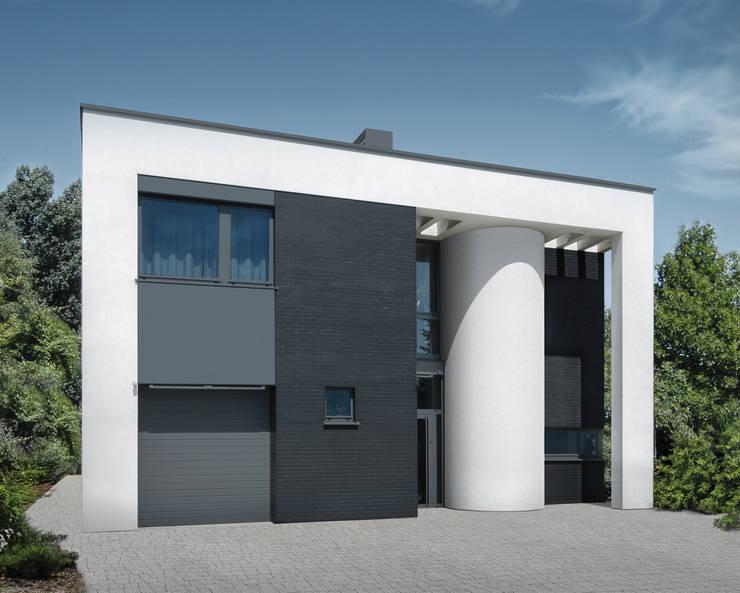 ELEWACJA WEJŚCIOWA: styl , w kategorii Domy zaprojektowany przez PAWEL LIS ARCHITEKCI