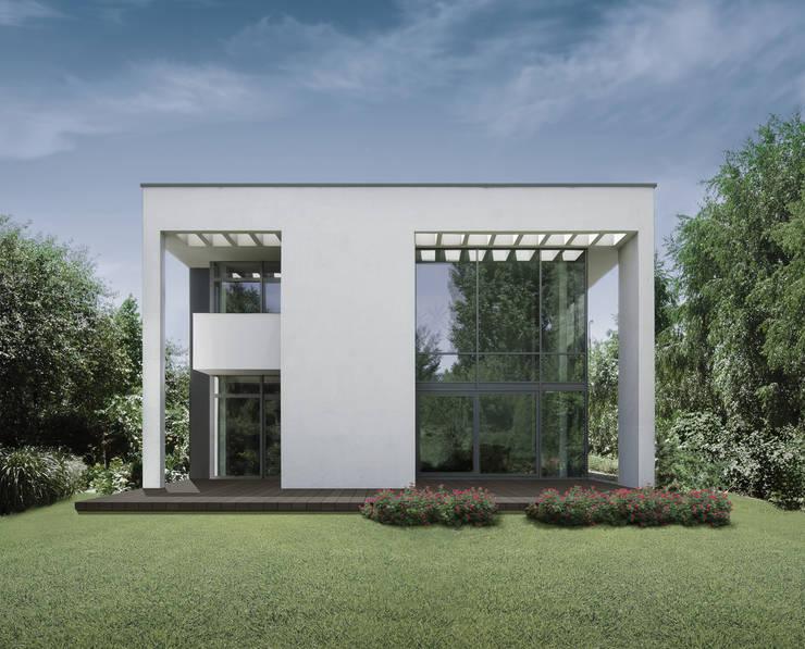 ELEWACJA OGRODOWA: styl , w kategorii Domy zaprojektowany przez PAWEL LIS ARCHITEKCI