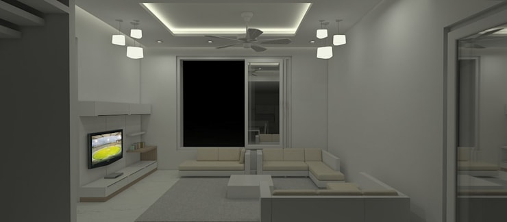 Farm House For Mr. Mehta:  Living room by Neotecture