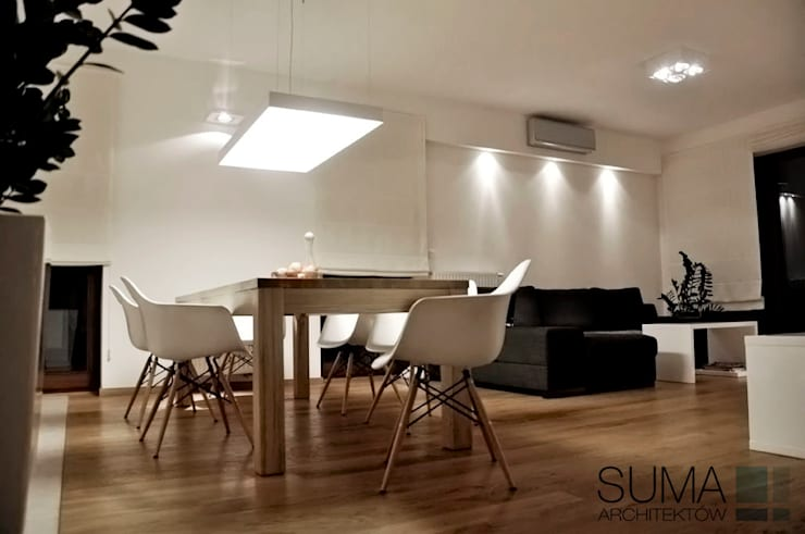 WARSAW ONE: styl , w kategorii Jadalnia zaprojektowany przez SUMA Architektów