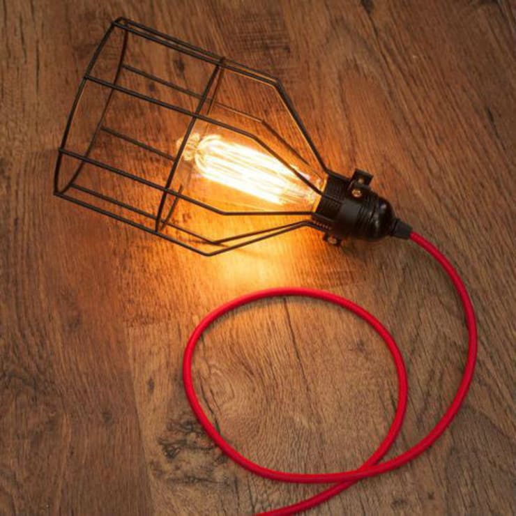 Open Cage Vintage Pendant Lamp Shade:  Kitchen by NuCasa