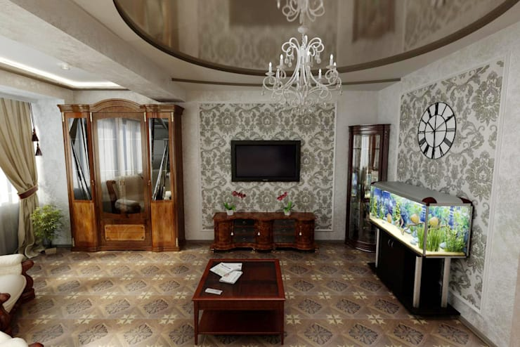 Классическая гостиная. Дизайн проект.: Гостиная в . Автор – Дизайн студия 'Exmod' Павел Цунев