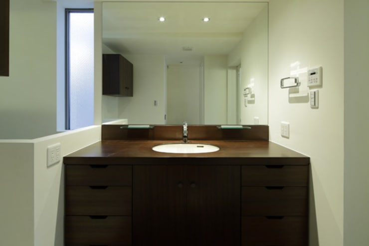 ねことひきこもる家 洗面脱衣室: アーキシップス古前建築設計事務所が手掛けた浴室です。