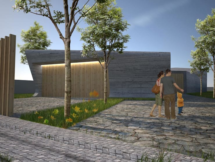 PT - Perspectiva Noroeste, EN - Northwest Perspective, FR - Perspective Nord-ouest: Casas  por Office of Feeling Architecture, Lda