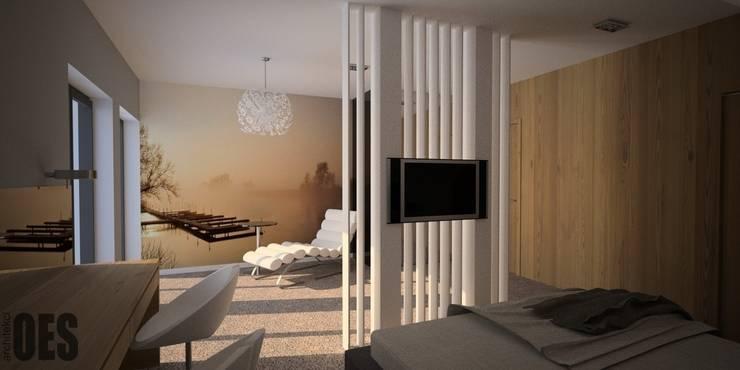 Projekt mieszkania Ustroń: styl , w kategorii Sypialnia zaprojektowany przez OES architekci