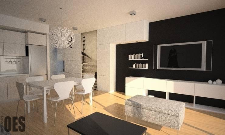 Projekt mieszkania Katowice: styl , w kategorii Salon zaprojektowany przez OES architekci