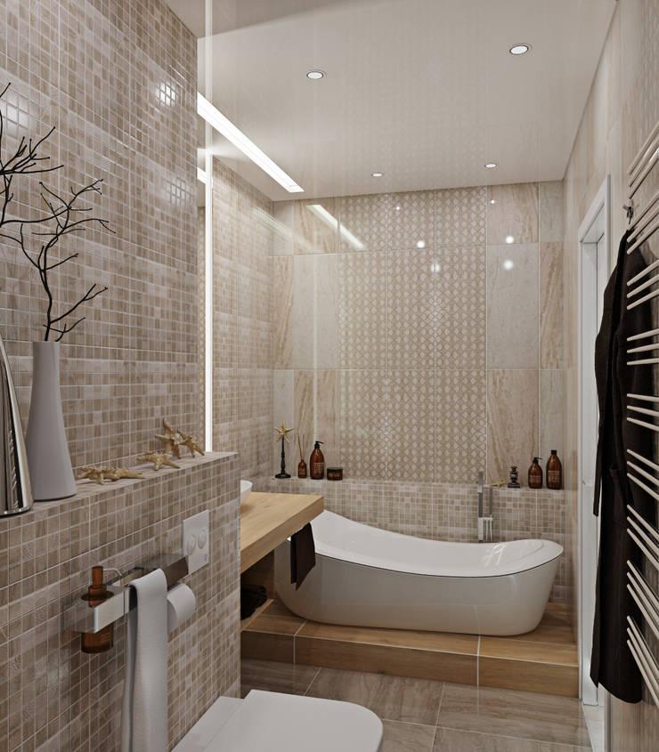 """квартира в ЖК """"Коммунарка"""" для молодого человека: Ванные комнаты в . Автор – 'Лайф Арт'"""
