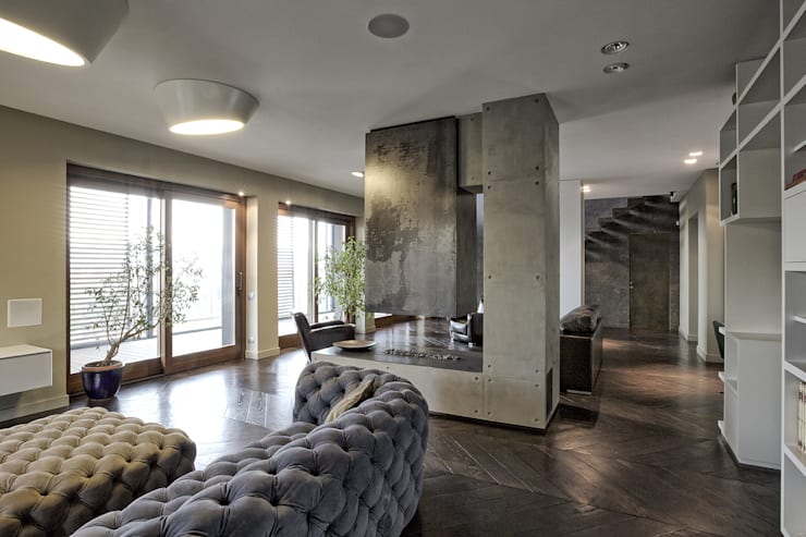 MG2 Architetture – Interior with terrace: Soggiorno in stile in stile Moderno di mg2 architetture