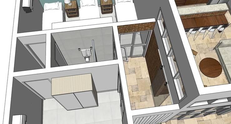 Interior da casa: Banheiros  por Natali de Mello - Arquitetura e Arte