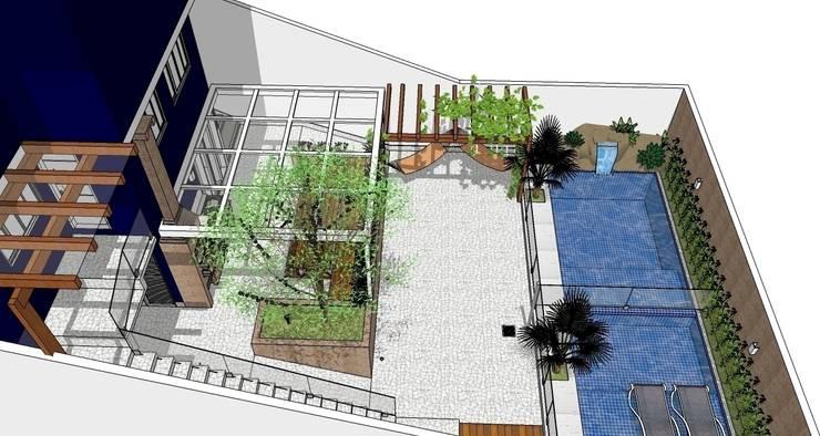 Área de lazer: Piscinas  por Natali de Mello - Arquitetura e Arte