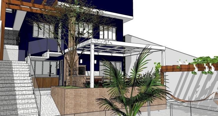 Fachada posterior: Casas  por Natali de Mello - Arquitetura e Arte