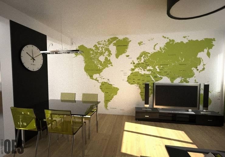 Projekt mieszkania Sosnowiec: styl , w kategorii Salon zaprojektowany przez OES architekci