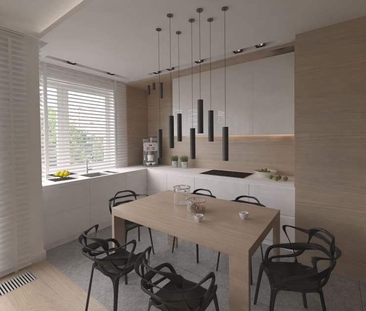 Apartament 100m2 Warszawa: styl , w kategorii Kuchnia zaprojektowany przez The Vibe,