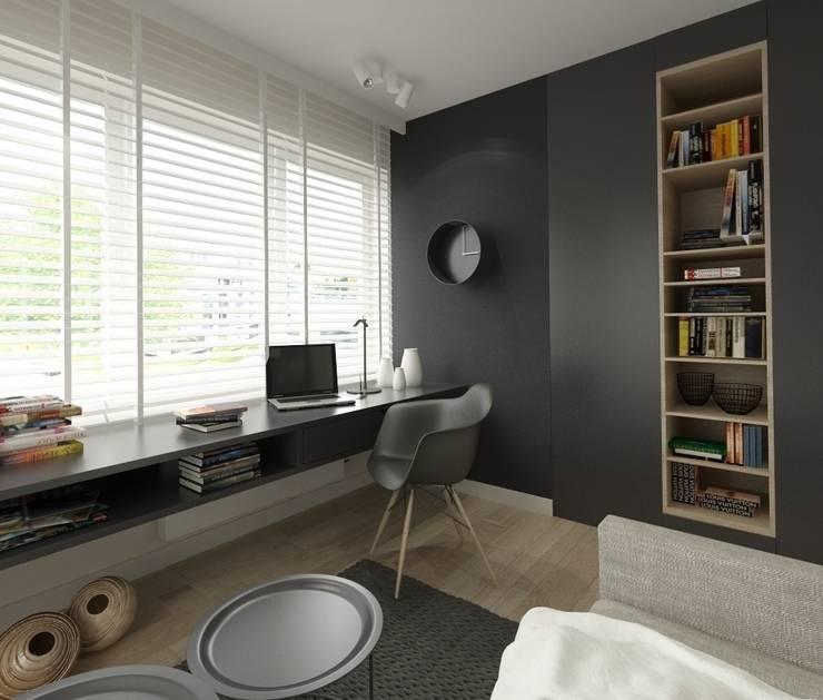 Apartament 100m2 Warszawa: styl , w kategorii Domowe biuro i gabinet zaprojektowany przez The Vibe,